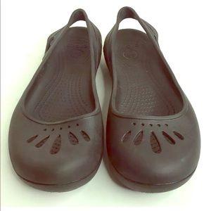 Crocs Malindi Solid Black Slingback Shoes Flats 8